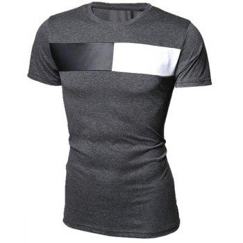 Modish Round Neck Color Block PU-Leather Splicing Short Sleeve Men's T-Shirt - DEEP GRAY XL