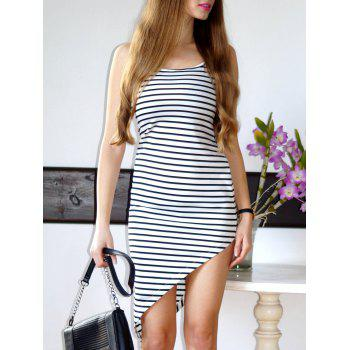 Stylish Spaghetti Strap Asymmetrical Striped Women's Dress