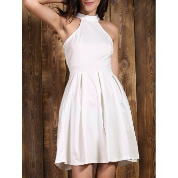 Chic Sleeveless Jewel Neck Cut Out Solid Color Women's Dress