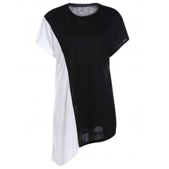 Stylish Jewel Neck Short Sleeve Black and White Spliced Women's T-Shirt