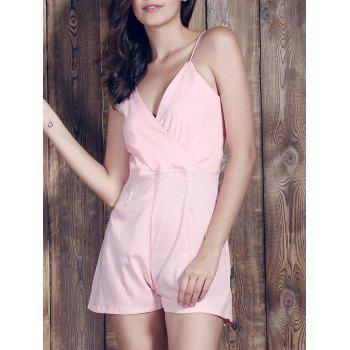 Stylish Women's Plunging Neckline Backless Pink Romper