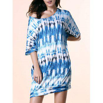 Fashionable Women's Scoop Neck Short Sleeve Tie Dyed Dress - BLUE L