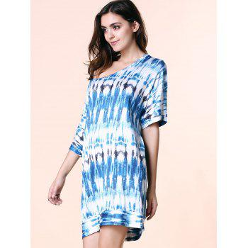 Fashionable Women's Scoop Neck Short Sleeve Tie Dyed Dress - L L