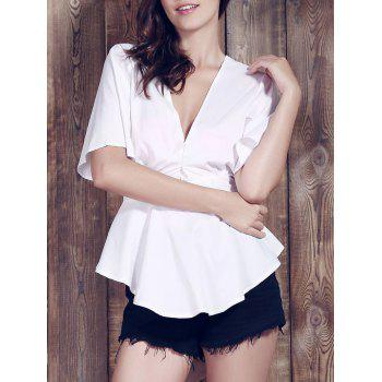 Sexy Plunging Neck Short Sleeve Flounce Asymmetrical Women's White Blouse