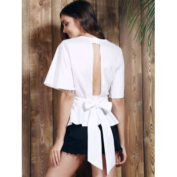 Sexy Plunging Neck Short Sleeve Flounce Asymmetrical Women's White Blouse - WHITE S