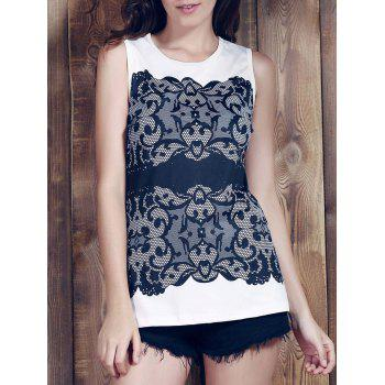 Chic Sleeveless Round Collar Slimming Lace Print Women's Tank Top