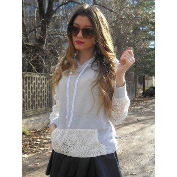 Sweet Long Sleeve Hooded Lace Splicing Women's Pullover Hoodie - GREY/WHITE S
