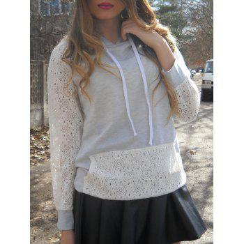 Sweet Long Sleeve Hooded Lace Splicing Women's Pullover Hoodie