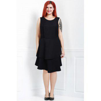 Chic Round Neck Sleeveless Plus Size Pure Color Women's Dress
