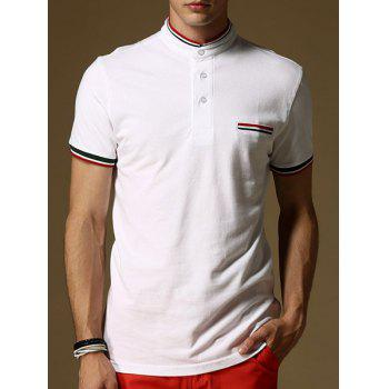 Slim Fit Striped Design Short Sleeves Polo T-Shirt For Men
