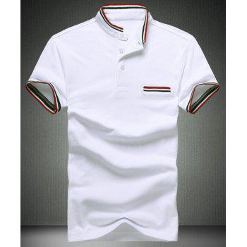 Slim Fit Striped Design Short Sleeves Polo T-Shirt For Men - WHITE WHITE
