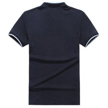 Slim Fit Half Button Short Sleeves Polo T-Shirt For Men - PURPLISH BLUE XL