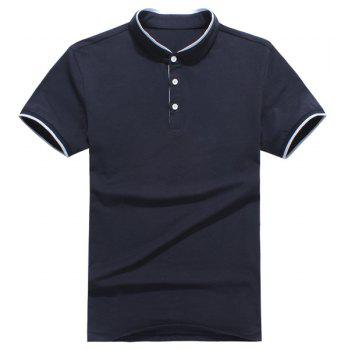 Slim Fit Half Button Short Sleeves Polo T-Shirt For Men