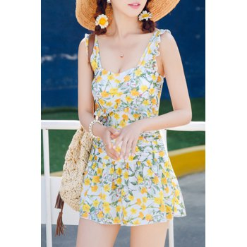 Charming Floral Print Flounced One-Piece Dress Swimwear For Women