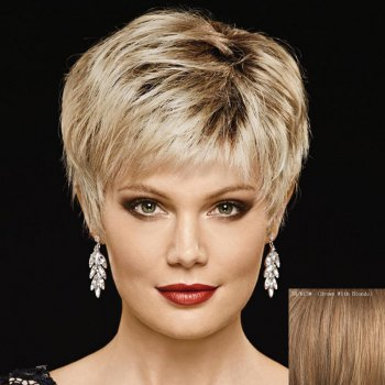 Attractive Multi-Colored Short Capless Fluffy Natural Straight Women's Capless Human Hair Wig