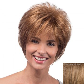Spiffy Short Capless Bouffant Natural Wave Side Bang Real Natural Hair Wig For Women - BROWN WITH BLONDE BROWN/BLONDE