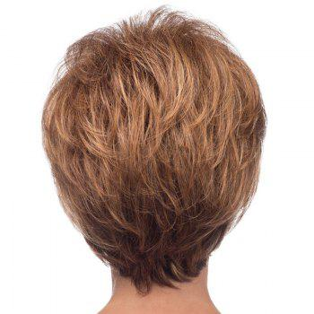 Spiffy Short Capless Bouffant Natural Wave Side Bang Real Natural Hair Wig For Women -  BROWN/BLONDE