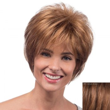 Spiffy Short Capless Bouffant Natural Wave Side Bang Real Natural Hair Wig For Women - AUBURN BROWN #30 AUBURN BROWN
