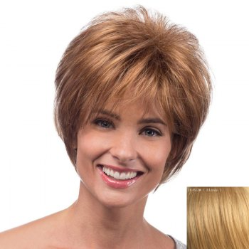 Spiffy Short Capless Bouffant Natural Wave Side Bang Real Natural Hair Wig For Women - BLONDE BLONDE