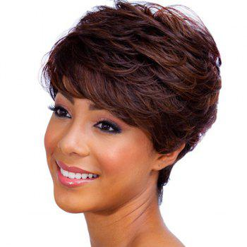 Ladylike Short Haircut Capless Fluffy Natural Wave Side Bang Women's Real Human Hair Wig -  RED MIXED BLACK