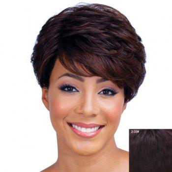 Ladylike Short Haircut Capless Fluffy Natural Wave Side Bang Women's Real Human Hair Wig - RED MIXED BLACK RED MIXED BLACK