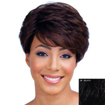 Ladylike Short Haircut Capless Fluffy Natural Wave Side Bang Women's Real Human Hair Wig