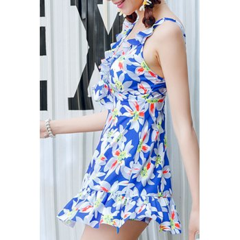 Endearing Floral Print Flounced One-Piece Swimwear For Women - BLUE 2XL