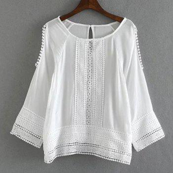 Sweet Style Scoop Collar Long Sleeve Laciness Hollow Out Women's White Blouse - WHITE WHITE