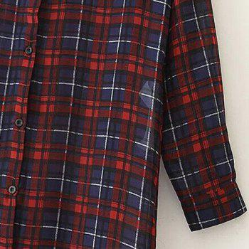 Trendy Plaid Long Sleeve Shirt For Women - COLORMIX COLORMIX