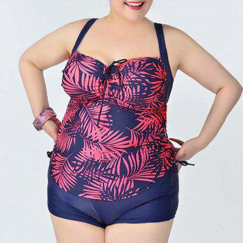 Simple Women's Spaghetti Strap Leaves Print Two Piece Swimsuit