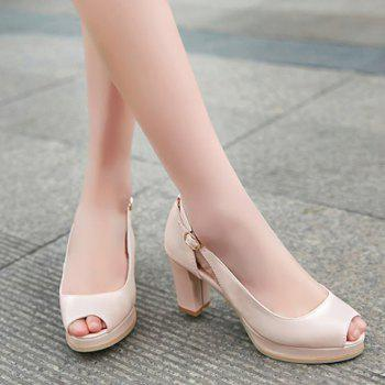 Fashionable Buckle and Hollow Out Design Women's Peep Toe Shoes - PINK 39