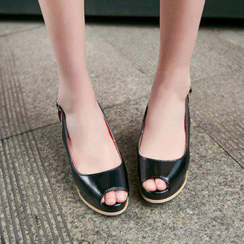 Fashionable Buckle and Hollow Out Design Women's Peep Toe Shoes - BLACK 38