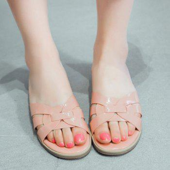 Casual Flat Heel and Patent Leather Design Women's Slippers - 38 38