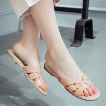 Casual Flat Heel and Patent Leather Design Women's Slippers - APRICOT APRICOT