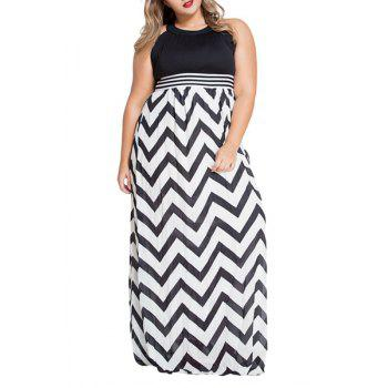 Stylish Keyhole Neckline High Waisted Zig Zag Print Women's Dress