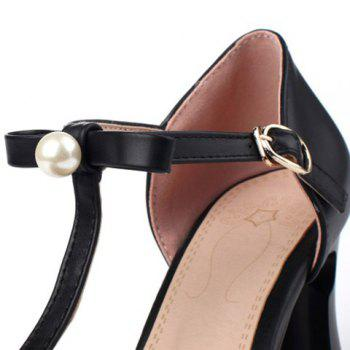 Stylish Faux Pearl and Square Toe Design Women's Pumps - 34 34