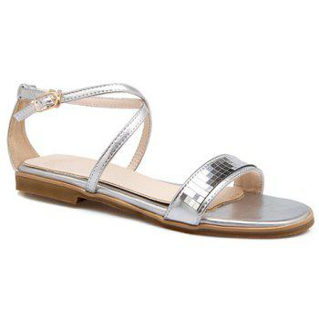Simple Flat Heel and Cross Straps Design Women's Sandals