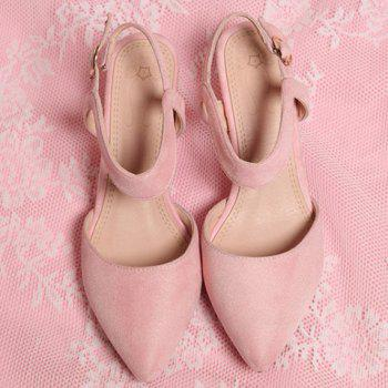 Stylish Suede and Solid Colour Design Women's Sandals - PINK 38