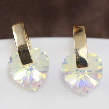 Pair of Charming Faux Crystal Heart Stud Earrings For Women