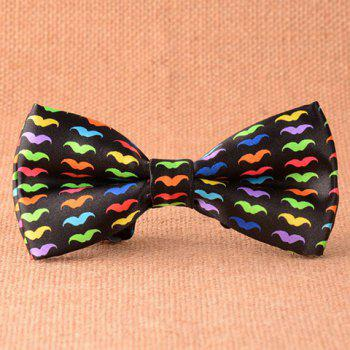 Stylish Multicolor Mustache Pattern Men's Black Bow Tie
