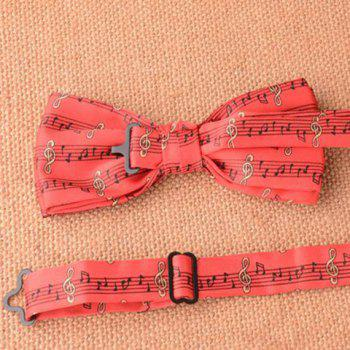 Stylish Musical Notes Pattern Men's Red Bow Tie - RED