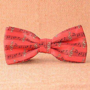 Stylish Musical Notes Pattern Men's Red Bow Tie