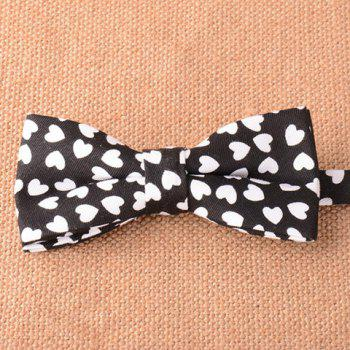 Stylish White Heart Pattern Men's Black Bow Tie