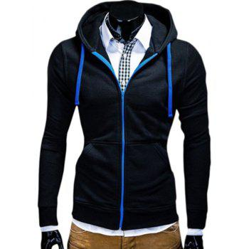 Color Block Zipper Fly Front Pocket Hooded Long Sleeves Men's Hoodie