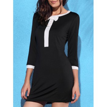 Trendy 3/4 Sleeve Scoop Neck Bowknot Decorated Dress For Women