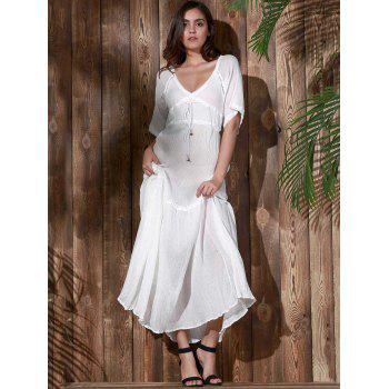 Bohemian Plunging Neck Solid Color Hollow Out Women's Dress - M M