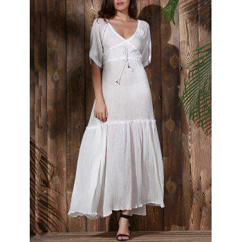 Bohemian Plunging Neck Solid Color Hollow Out Women's Dress - WHITE WHITE