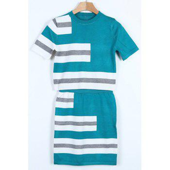 Trendy Striped Short Sleeve T-Shirt and Sheath Skirt Twinset For Women