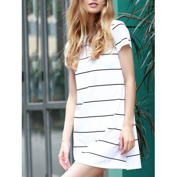 Trendy Short Sleeve Round Collar Loose-Fitting Striped Women's Dress