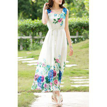 Buy Stylish Women's Scoop Neck Sleeveless Floral Print Chiffon Dress BLUE